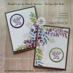 Saturday Keep Stamping – Center (Collage) Stamping – The Inque Spot Studio Butterfly Birthday Cards, Paper Art, Paper Crafts, Leaf Images, Stamping Up Cards, Crafty Projects, Flower Cards, Greeting Cards Handmade, Diy Cards