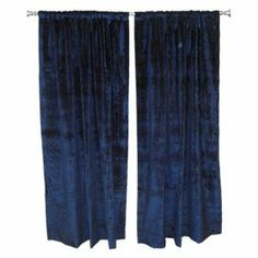 """Midnight-hued velvet curtain with a rod pocket design. Made in the USA.   Product: Set of 2 curtain panelsConstruction Material: VelvetColor: MidnightFeatures:  2"""" Rod pocket3"""" Hem at bottomMade in the USA  Cleaning and Care: Spot clean"""