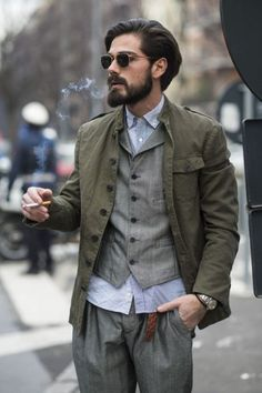 throw back // menswear, mens style, fashion, greys, gray, olive, fall, jacket, haircut, hairstyle, sunglasses