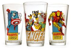 Being a Superhero is hard work. Also thirsty work. So drink up some cold liquid in one of these awesomely geeky and retro looking Marvel Comics Pint Glasses.  They come in your choice of Captain America, The Avengers or Iron Man. As you k