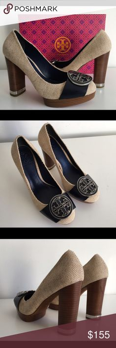 "TORY BURCH CANVAS NAVY BLUE HIGH HEEL PUMPS TORY BURCH CANVAS NAVY BLUE HIGH HEEL PUMPS WITH METAL LOGO, SIZE 7.5, WOOD HEEL 4.5"", PLATFORM 0.75"", BRAND NEW WITH BOX AND DUST BAG Tory Burch Shoes Platforms"