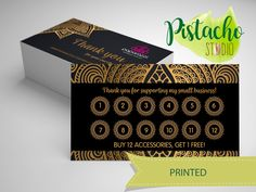 Paparazzi Loyalty card- Jewelry Consultant – Accessories- Mandala Gold business card- Custom printed loyalty card. de PistachoStudio en Etsy