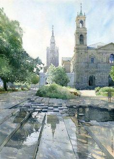 """""""Grzybowski Plaza Warsaw""""  By Grzegorz Wróbel - Watercolors / Akwarele from Poland (b. 1983)"""