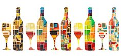 Art wine bottle background vector material 02