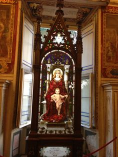 Madonna and Christ. Stained Window. 13th century. Vatican Museums Italy