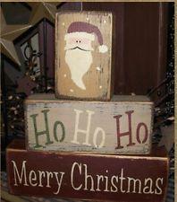 PRIMITIVE WINTER BLOCK SIGN~~MERRY CHRISTMAS~~HO HO HO~~SANTA CLAUS~~