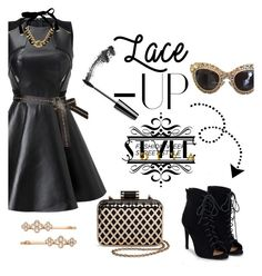"""""""Lace Up Style Diva"""" by starspy ❤ liked on Polyvore featuring JustFab, Tevolio, Yves Saint Laurent, Dolce&Gabbana, Henri Bendel, fancy, laceup and GNO"""