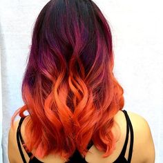 Punk ombré color from earlier today with purples, pinks, and orange…