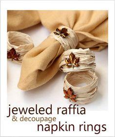 DIY fall napkin rings using raffia - great budget party idea.