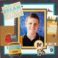 School page created by Simple Stories, Smarty Pants collection by Leonie for My Scrappin' Shop.