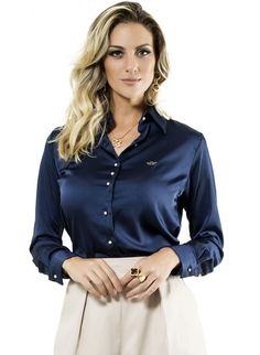camisa feminina manga longa cetim principessa jussara marinho Camisa Azul  Marinho f3e250e67c6