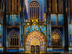 spectacle Iliz Veur, mise en lumière de la cathédrale Saint-Corentin - à Quimper © Paul Kerrien 2017 https://en-photo.fr Finistère Bretagne