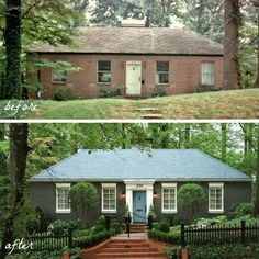 Some people can never afford a modest starter home. before-and-after-atlanta-brick-home – starter home upgrade – curb appeal Some people can never afford a modest starter home. before-and-after-atlanta-brick-home – starter home upgrade – curb appeal Home Exterior Makeover, Exterior Remodel, Ranch Exterior, Home Upgrades, Exterior Paint, Exterior Design, Exterior Signage, Diy Exterior Window Trim, Outdoor Window Trim