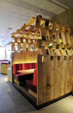 wood slat booth seating