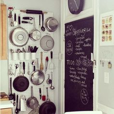 Pegboards are a fantastic way to get more storage in a kitchen with limited cabinets space #kitchen #storage Reposted Via @doneanddonehome