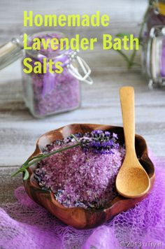 Lavender     1 c Epsom salt  1/2 c Sea salt  2 T dried lavender  15 drops of lavender essential oil, gently stir all ingredients glass mixing bowl to combine.  Transfer mixture to a glass, airtight container and let it rest for a couple of days.