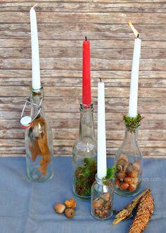 Schnelle Herbstdeko aus Eicheln, Tannenzapfen, Moos, verschiedenen Flaschen und Kerzen   waseigenes.com Blog   November 2016