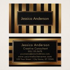 Faux Gold and Black Multi-Directional Stripes Business Card - professional gifts custom personal diy