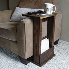 Sofa Chair Arm Rest Table Stand II with Storage Pocket by KeoDecor