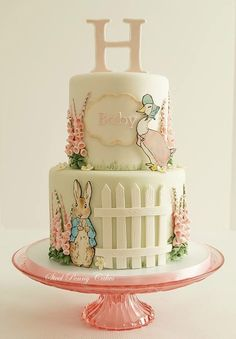 Beatrix Potter baby shower by Steel Penny Cakes Elysia Smith. What a cute cake idea! Peter Rabbit Cake, Peter Rabbit Birthday, Pretty Cakes, Cute Cakes, Amazing Cakes, Beautiful Cakes, Beatrix Potter Cake, Beatrix Potter Nursery, Cake Paris