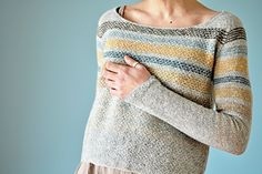 Knitting Pattern for a boxy, cropped pullover with textured stripes and top-down seamless construction with raglan yoke. Ravelry, Knitting Blogs, Knitting Patterns, Wool Shop, Crochet Patterns For Beginners, Raglan, Wool Applique, Wool Felt, Knitwear