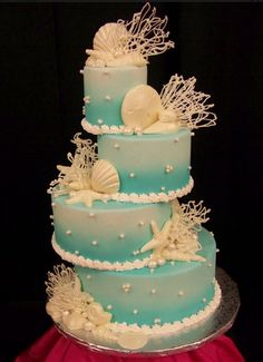 Staggered Beach Wedding Cakes & Top 15 Beach / Ocean Themed Cakes, Cupcakes & Biscuits & What I just love & The post Top 15 Beach / Ocean Themed Cakes, Cupcakes & Biscuits appeared first on Best Cake Desing Tools Beautiful Wedding Cakes, Beautiful Cakes, Amazing Cakes, Beach Themed Cakes, Beach Cakes, Wedding Cakes With Cupcakes, Cupcake Cakes, Ocean Cakes, Quinceanera Cakes