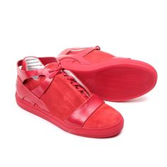 Men's Del Toro x Erik Bjerkesjo Limited Edition Collaboration Red Suede And Nappa Cross Trainer - Sneaker - Men's