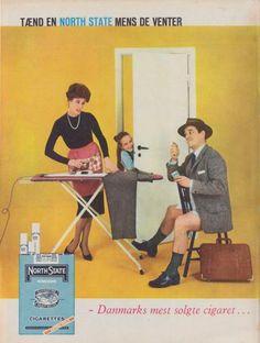 """I 1950'erne er der en hidsig annonce-krig mellem de to førende cigaret-firmaer. Overfor """"Tænd en North State, mens De venter"""" står """"Så er der tid til en Cecil""""."""