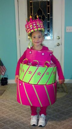Duct tape Birthday cake costume made from poster board, foam board, and duct tape.