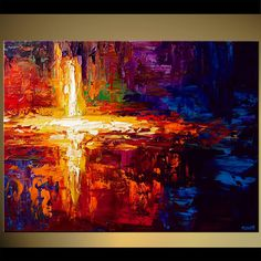Modern abstract painting by the artist Osnat Tzadok. Choose from thousands of modern, contemporary and abstract paintings in this online art gallery. Artwork: 'Seeing the Light', dimensions: Jesus Tattoo, Jesus Painting, Cross Art, Colorful Abstract Art, Canvas Painting Landscape, Cross Paintings, Modern Paintings, Art Paintings, Pics Art