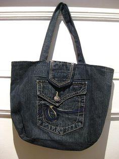 Upcycled bag / denim fabric / tote bag / denim bag / by EcoCentrik, $40.00