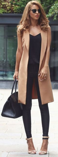 Smart Casual: - Long Vest - Black Top - Black Skinny Jeans - Strap Heels #casualchicstyle