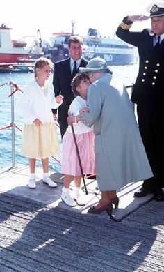 Princess Eugenie of York greets her great-grandmother The Queen Mother.