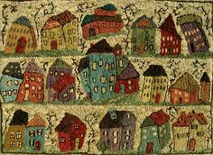 Little Houses by Sharon Smith-Pattern Only or Complete Rug Hooking Kit
