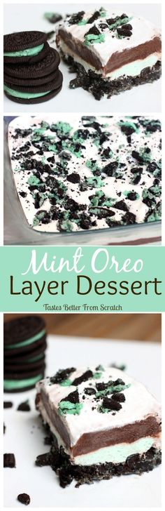 Mint Oreo Layer Dessert on MyRecipeMagic.com  - An Easy No-bake dessert that everyone will LOVE!: