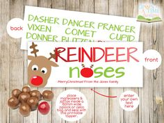 INSTANT DOWNLOAD REINDEER Noses Bag Topper By UponATimeDesigns Christmas Bags Crafts For Kids