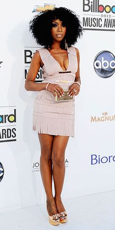 Billboard Music Awards 2012: BRANDY in Hervé Léger by Max Azria mini, plus a silver clutch, matching shiny danglers, bangles by Nana Fabella and rings by Elodie K., London Manori and Beverly Jill Designs.