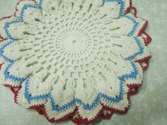 Vintage 7 inch red white and blue hand crochet by MarlenesAttic, $5.50