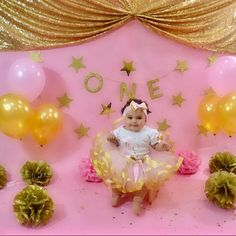 Pink and gold first birthday outfit girls Gold First Birthday Outfit, Pink And Gold, First Birthdays, All Things, Girl Outfits, Christmas Ornaments, Princess, Holiday Decor, Pretty