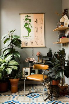 Reading nook with plants and greenery. Soulful Spaces: Designer Home in Barcelona · Happy Interior Blog