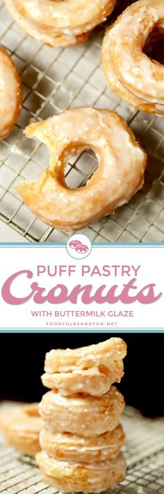 Puff Pastry Cronuts with Buttermilk Glaze are delicious, so easy to make, and they just melt in your mouth! This will become your go-to cronut recipe!