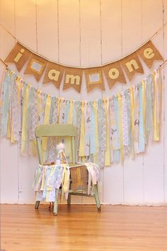 Aqua Yellow & Grey Birthday Banner Set by CherishedTreasures13
