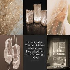 Don't judge. #AskGod www.ninabrown.co.za Collages, Beautiful Collage, Beautiful Flowers, Sisters In Christ, Pretty Quotes, Colour Board, Assemblage Art, Book Cover Design, Mood Boards