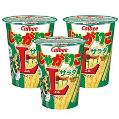 Calbee Jagariko Potato Snack Salad Flavor L Size x 3 Cups Potato Sticks, Milk And More, Japanese Snacks, How To Make Salad, Cups, Potatoes, Food, Crack Crackers, Pickle Relish