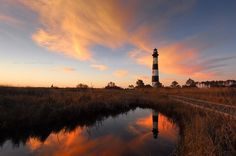 The Bodie Island Lighthouse Dare County, North Carolina Accessed via Beach Highway 12 Date Taken: October 2011 Like most lighhouses of the Outer Banks, this is not the original Bodie Island Light. Bodie Island Lighthouse, Roanoke Island, Cape Hatteras Lighthouse, Outer Banks North Carolina, Places To Go, Coastal, Adventure, Lighthouses, Wright Brothers