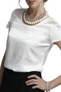 Organic White Silk Top by Multemyr #BusinessDress #ConferencesAndEvents #Smart #Professional