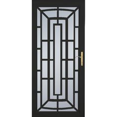 LARSON�36-in x 81-in Annapolis Brass Black Aluminum Security Door