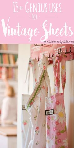 """I wish I had kept all my old sheets . and my grandma's old sheets as well: """"Aprons from Vintage Sheets"""" Aprons Vintage, Vintage Tablecloths, Vintage Sheets, Vintage Fabrics, Upcycled Vintage, Vintage Linen, Vintage Sewing, Repurposed, Embroidery Designs"""