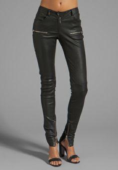 ANINE BING Leather Skinny Pant in Black - Pants
