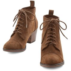 ModCloth Rustic Press Playlist Bootie ($35) ❤ liked on Polyvore featuring shoes, boots, ankle booties, booties, botas, heels, short brown boots, lace up heel boots, stacked heel bootie and brown ankle booties